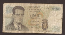 België Belgique Belgium 15 06 1964 20 Francs Atomium Baudouin. 3 C 7953021 - [ 6] Schatzamt