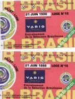 Coupe Du Monde De Football 1998 - Tickets Pour  L'entrainement De La Sélection Brésilienne à Ozoir La Ferrièrere 77 - Soccer