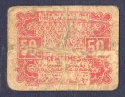 Empire Chérifien-Protectorat- MAROC Billet De Nécessite 50 Centimes DAHIR/ PLUS PETIT BILLET MONDE - Maroc