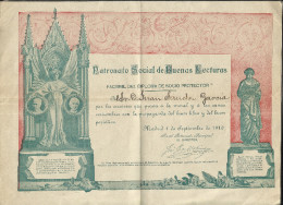 J51-PATRONATO SOCIAL DE BUENAS LECTURAS.1910.FACSIMIL DEL DIPLOMA DE SOCIO PROTECTOR. -QUIEN NO HA RECIBIDO DE LA NATURA - Decretos & Leyes