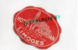 87 - LIMOGES -  RARE ETIQUETTE HOTEL LE JOURDAN - P. MOINARD AVENUE DE LA GARE ET COURS JOURDAN - - Factures & Documents Commerciaux