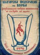 W198 / SPORT - Wrestling Lutte Ringen 1976 - 21.5 X 30 Cm. Wimpel Fanion Flag Bulgaria Bulgarie Bulgarien Bulgarije - Lucha