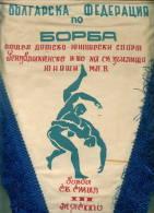 W199 / SPORT - Wrestling Lutte Ringen  - 30 X 48 Cm. Wimpel Fanion Flag Bulgaria Bulgarie Bulgarien Bulgarije - Lutte (Wrestling)