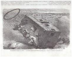 Gravure 1863 BALLON MONTGOLFIERE  Catastrophe Du Géant  Nieubourg   Hanovre Aerostat - Vecchi Documenti