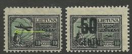 LITAUEN Lietuva Lithuania 1922 Flugpost Air Mail Michel 123 * Mit Printing Error Swifted Blau Print  + Michel 185 * - Litauen