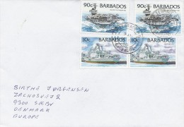 Ships On Cover Sent From Barbados To Denmark    # 883 # - Barbados (1966-...)