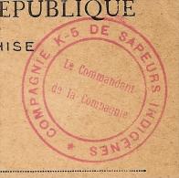 HOURDAIN, Pas De Calais, COMPAGNIE K-5 DE SAPEURS INDIGENES Sur CP En FM. LUXE ! - Marcophilie (Lettres)