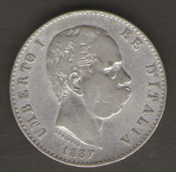ITALIA 1 LIRA 1887 UMBERTO I AG SILVER - 1861-1946 : Kingdom