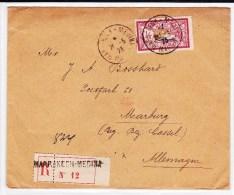 MAROC - 1923 - TYPE MERSON SEUL Sur ENVELOPPE RECOMMANDEE De MARRAKECH Pour MARBURG - Maroc (1891-1956)