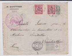 MAROC - 1916 - TYPE MOUCHON AVEC INTERPANNEAU + BLANC Sur ENVELOPPE Avec CENSURE De CASABLANCA Pour WINTERTHUR (SUISSE) - Covers & Documents