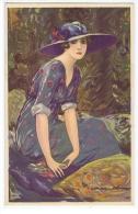CORBELLA - ART DECO POSTCARD 1920s - GLAMOUR LADY WITH HAT & FLOWERS - N.317-6 - Künstlerkarten