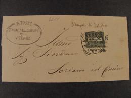 """ITALIA Regno-1866- """"T 14 Cifra"""" C. 1 VITERBO>SORIANO NEL CIMINO (descrizione) - 1861-78 Vittorio Emanuele II"""