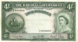 BAHAMAS ISLANDS BRITISH 4 SHILLINGS GREEN WOMAN QEII HEAD SHIP FRONT ARMS BACK ND(1953) AVF P.13d READ DESCRIPTION !! - Bahamas
