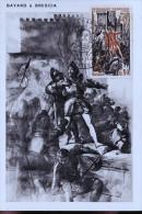 CARTE POSTALE BAYARD ET SON TIMBRE - Personnages Historiques