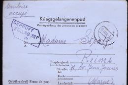 REIMS TERRITOIRE OCCUPE MADAME STRATZ 71 AVENUE JEAN JAURES / LONGUE CORRESPONDANCE - Marcofilia (sobres)
