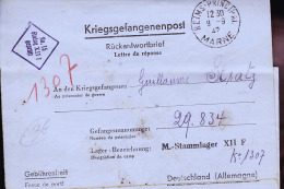 REIMS TERRITOIRE OCCUPE MADAME STRATZ 71 AVENUE JEAN JAURES / LONGUE CORRESPONDANCE - Poststempel (Briefe)
