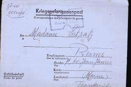 REIMS TERRITOIRE OCCUPE MADAME STRATZ 71 AVENUE JEAN JAURES / LONGUE CORRESPONDANCE - Marcophilie (Lettres)