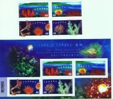 2002  Corals  Souvenir Sheet And Block Of 4 Different  Sc 1948-1951, 1951b  MNH ** - Neufs