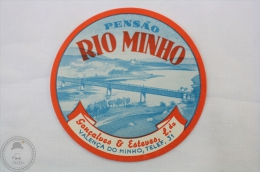 Hotel Pensao Rio Minho, Diamantino Esteves - Portugal - Original Hotel Luggage Label - Sticker - Hotel Labels