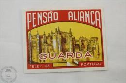 Hotel Pensao Aliança, Guarda - Portugal - Original Hotel Luggage Label - Sticker - Hotel Labels