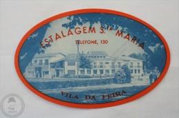 Hotel Estalagem Sta Maria, Vila Da Feira - Portugal - Original Hotel Luggage Label - Sticker - Hotel Labels