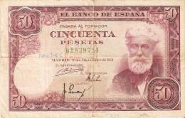 BILLETE DE ESPAÑA DE 50 PTAS DEL 31/12/1951 SERIE B  (BANKNOTE) - [ 3] 1936-1975 : Régence De Franco