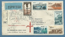 1954 - TRIESTE AMG FTT  SERIE TURISMO SU RACCOMANDATA ESPRESSO PER TREVISO - Altre Collezioni