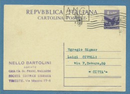 1948- TRIESTE AMG FTT  INTERO POSTALE L.8 USATO PER CITTA' - Other Collections
