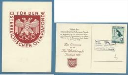 OLIMPIADI  INVERNALI INNSBRUCK 1936  CARTOLINA UFFICIALE CON STEMMA - Non Classificati