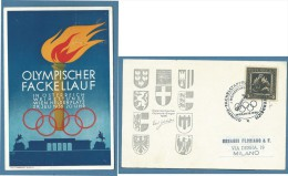 OLIMPIADI  CARTOLINA  FIACCOLA OLIMPICA WIEN VIENNA 1936 - Other Collections