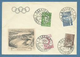 FINLANDIA  OLIMPIADI HELSINKI 1952 SERIE ANNULLO  E BUSTA UFFICIALE DEI GIOCHI - Other Collections