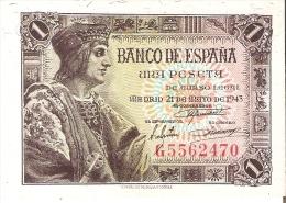 BILLETE DE ESPAÑA DE 1 PTA  DEL AÑO 1943 SERIE G SIN CIRCULAR (UNCIRCULATED) - [ 3] 1936-1975 : Régence De Franco