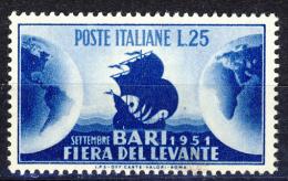 Fiera Del Levante A Bari - 1951 - 25 Lire Azzurro (Sassone 670MG) MNH** - 6. 1946-.. Republic