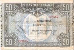 BILLETE DE ESPAÑA 50 PTAS DEL BANCO DE BILBAO 1937 CAJA AHORROS DE BILBAO   (BANKNOTE) - [ 3] 1936-1975 : Régence De Franco