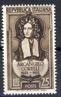 Arcangelo Corelli - 1953 - 25 Bruno Scuro (Sassone 709) MNH** - 6. 1946-.. Repubblica
