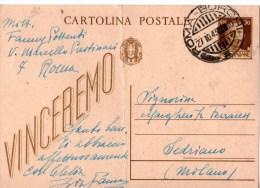 CARTOLINA POSTALE-INTERO POSTALE-VINCEREMO- CENT.30-ANNULLO DI ROMA-BORGHI-27-10-1943-REPUBBLICA SOCIALE ITALIANA - 4. 1944-45 Repubblica Sociale