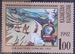 05 Kazakhstan 1992 Mi 12 Sc 3 Yv 3 Train Railway - Camels - Painting By KASTEJEW - MNH - Kazachstan