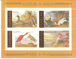 TANZANIA, 1986 AUDUBON BIRDS MINISHEET MNH - Tanzania (1964-...)