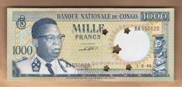 CONGO - 1000 Francs 1964 SC  P-8 Canceled - Congo