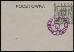Pologne 1944. Carte Postale, Oflag IID, à Groβ-Born. Blason. Feuilles D´arbre, Tour Et Aigle. Timbre Gris - Enveloppes
