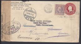 ETATS-UNIS -1918 - LETTRE ENTIER POSTAL 2 Ct ROUGE + COMPL D´AFFRANCHISSEMENT Avec N° 169 F- DE NEW YORK POUR LAUSANNE - - Entiers Postaux