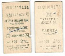 Tickets - Biglietti - FS Italia - Venezia - Faenza E Cervia Milano Marittima-Portomaggiore - Europa