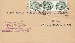 Germany Deutsches Reich PREUSSISCHE AMTSGERICHT, HANAU Cover Brief Dienstsache To MAINZ (2 Scans) - Officials