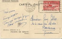 INAUGURATION   Du   Monument   Américain      ( Mémorial à La Pointe De  Grave )   En  L' état - Postmark Collection (Covers)