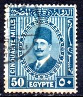 EGYPT 1927 King Fuad - 50m. - Blue  FU - Usati