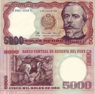 PERU' 5000 SOLES DE ORO 1985 FDS UNC - Pérou