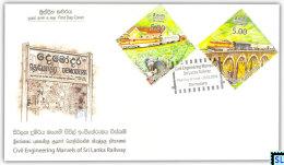 Sri Lanka Stamps 2014, Marvels Of Railway, Trains, Train, Bridges, FDC - Sri Lanka (Ceylon) (1948-...)