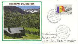 ANDORRE. Un Refuge De Haute Montagne L'été, Sur Lettre Adressée En Catalogne - Andorre Français