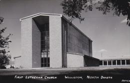 North Dakota Williston First Lutheran Church Real Photo - Williston