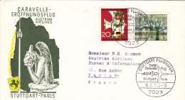 Inaugural Flight  Stuttgart Paris 1963 -  Erstflug - 1er Vol - Caravelle AUA - Lettres & Documents
